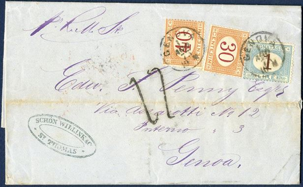 Unpaid single weight letter docketed St. Thomas 12. July 1873 to Genova, Italy. With RMS ELBE to London, then forwarded to Italy in the closed mails through France. Upon arrival in Genova, a collection of 17 decimi was required to pay the Italian internal postage, included the 14½ decimi fee to England. Under terms of the Anglo-Italian Convention, the postage due to Great Britain was a combination of the 1 sh. (12 decimi) per ¼ ounce British transatlantic packet service and transit fee to France, plus the 1 Franc per 30 gram (25c per 7½ gram) closed mail transit fee through France to Italy, for a total of 14½ decimi. Added to this amount was 20 centisimi per 7½ gram Italian internal postage, and the total was rounded up to 17 decimi.