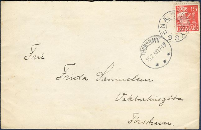 "Letter sent from Myggenæs to Thorshavn, bearing a 15 øre Caravel issue tied by removed star cancel ""MYGGENÆS"" alongside CDS ""THORSHAVN 15.2.38"", DAKA 36.02."