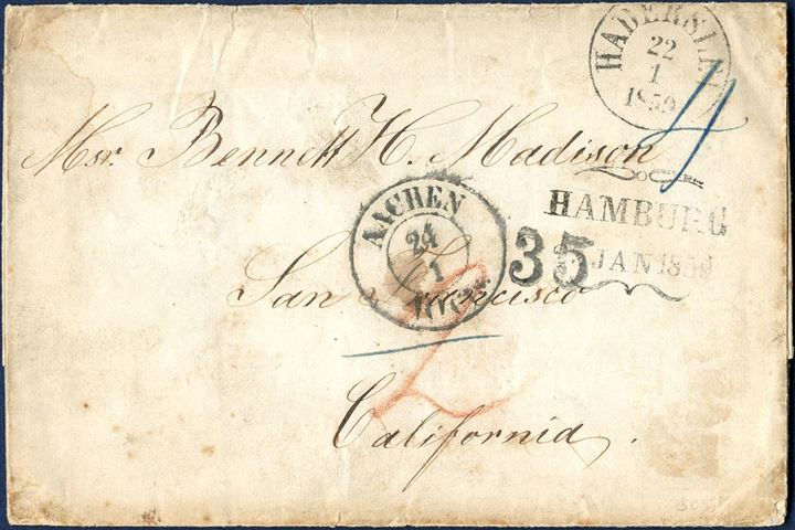 "Unpaid letter sent from Haderslev to San Francisco in transit through Hamburg and stamped Aachen two-ring ""Aachen 10 Cts. 24/1"" to credit the US post, and NY arrival stamp on back and ""35"" cents due by the addressee. Rare letter to California from Sønderjylland."