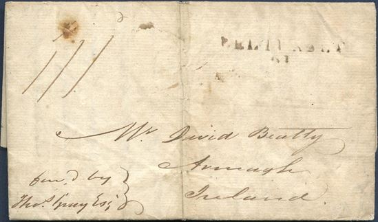 Entire letter sheet dated St. Croix 24 October 1819 to Armagh, Ireland. Charged 1/1 and stamped BELLMULLET on arrival, scarce landing location on mail from Danish West Indies.