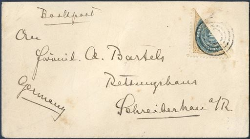 Printed matter sent by BOOK POST from Christiansted 23 February 1903, via St. Thomas cds 23/2 1903 on reverse and German receiving mark on reverse 15.3.1905. Postage paid with 4c bicolored bisected tied by 4-ring cancel without dot.