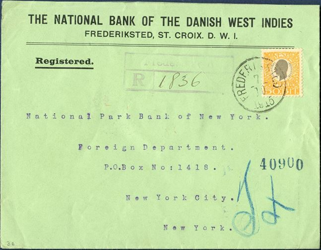 "Registered envelope Frederiksted 7 October 1915 to New York, USA. 50 BIT King Christian IX tied by CDS ""FREDERIKSTED 7/10 1915"", registration mark ""Frederiksted / R / 1836"" 9. Registration fee 25 BIT, UPU rate 25 BIT from 1.10.1910 – 31.3.1917, correct franking."
