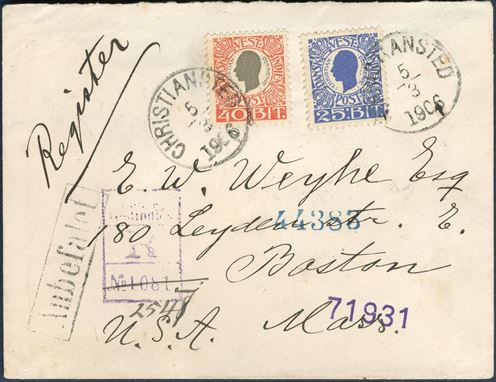 "Registered letter from Christiansted 5 March 1906 to Boston, USA. 40 BIT and 25 BIT King Christian IX issue tied by CDS ""CHRISTIANSTED 5/3 1906"" and boxed Anbefalet Engström type 11 registration mark ""Dansk Vestindien / R / No. 1081"" in purple, and corrected with manuscript St. Thomas ""2547"" below, transit mark St. Thomas and New York receiving mark on reverse. Letter rate 40 BIT UPU rate to US 15.7.1905 – 30.9.1907 plus 25 BIT registration fee, correct 65 BIT postage paid. After 1.10.1907 USA was 25 BIT 1500 miles rate."