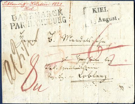 "Letter (front) sent from Kiel to Coblenz 13 August 1821 stamped with the boxed ""KIEL"" and the only recorded example of this postmark. Known for many years and certainly among the most wanted Danish postmarks used in the Duchy of Holstein."