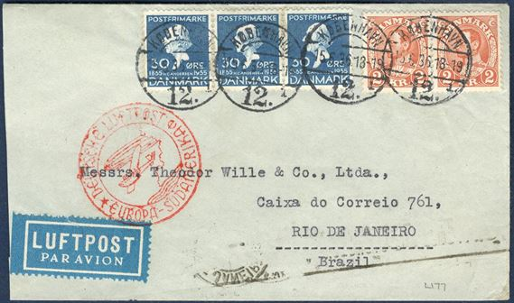 "Air mail letter sent from Copenhagen to Brazil 15 June 1936 bearing HC Andersen 30 øre 3-strip and pair 2 Kr. King Chr. X tied by CDS ""KØBENHAVN 12 - 15.6.36"" and front stamped with red ""DEUTSCHE LUFTPOST - EUROPA-SÜDAMERIKA"". Letter rate 30 øre 0-20 gram, plus 2x 230 øre airmail surcharge each 5 gr (5-10 gram), correct franking of 490 øre."