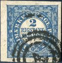 2 Rigsbankskilling Thiele printing, Type 9, Plate II position 41, cancelled with numeral '1' COPENHAGEN. Large to huge margins. Certificate Kaiser.