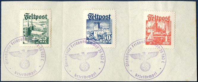 "Complete used set of Freikorps Dänemark on piece tied by mauve Diensstelle Feldpostnummer 25362C - Briefstempel"". Rare set in excellent quality."