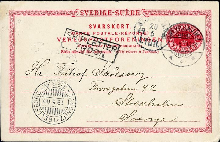 "10 øre Sweden reply-card sent from Reykjavik Iceland to Stockholm May 1900 via Troon with boxed ""SHIP LETTER TROON"" and transit ship mark ""Sassnitz-Trelleborg"" with Stockholm arrival mark on front. Very few early reply cards known from Iceland, this is apparently the only Swedish recorded earlier than 1900."