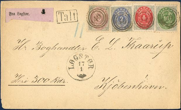 Value letter front with four colour franking of 3 sk., 2 sk., 4 sk. and 16 sk. bicoloured skilling issue cancelled with numeral '49' LØGSTØR to Copenhagen and datestamp LØGSTØR 17/1 Antiqua VI, purple value registration label 'Fra Løgstør 4' and boxed 'TALT' and blue '11' crayon. 16 sk. with small tear in North margin, ex. Christian Andersen. Certificate Debo and Møller.