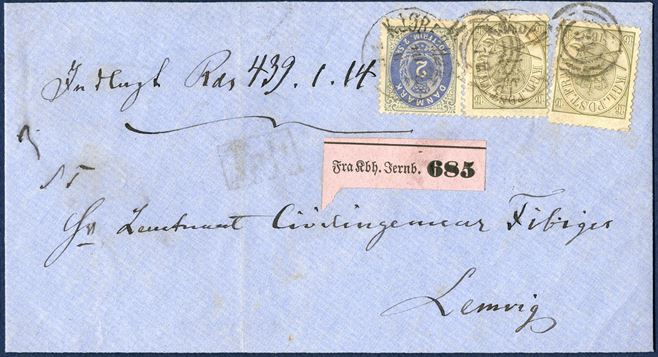 Value letter on front 439 Rdr. 1 M and 14 skilling sent from Copenhagen 1864-1870 to Lemvig. Franked with two 16 sk. Crown-Scepter-Sword IV printing line perforation 12½ and 2 sk. bicoloured I printing, cancelled with numeral duplex '34', a purple value registration label affixed 'Fra Kbh. Jernb. 685' and boxed 'TALT. AFA 15A rare on cover, here with two copies. Certificate Møller.