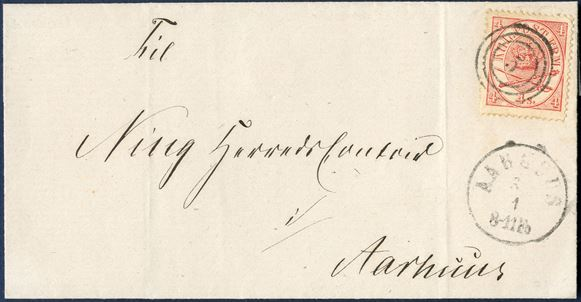 Local letter in Aarhus to Ning Herredscontoir in Aarhus 3/1 (1864 ?) franked with 4 sk. carmine Crown-Scepter-Sword I printing and cancelled with numeral '5' AARHUS and datestamp 'AARHUS 3/1 8-11Fo'.