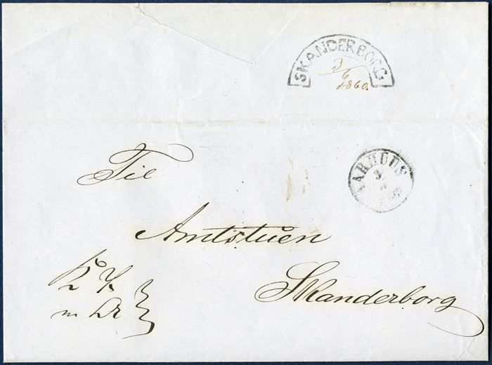 "Royal Service letter sent from Aarhus 3 June 1860 to Skanderborg. Stamped on reception in Skanderborg with the scarcely found segment mark ""SKANDERBORG"" and noted in pencel '3/6 1860.'"