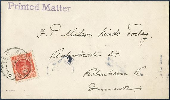 "Double rate printed matter sent from Frederiksted to Copenhagen 29 December 1913 bearing a 10 BIT King Frederik VIII red tied by ""Frederiksted"" CDS and office cancel stamped on front ""PRINTED MATTER"". Printed matters are scarce in this form from Danish West Indies."