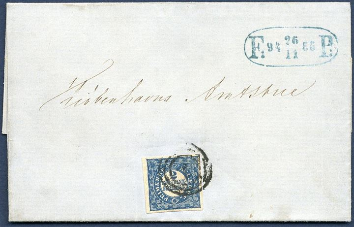 Copenhagen foot-post cover franked with single Thiele 2 Rigsbankskilling type 5, plate I pos. 75. Fine margins and nicely tied by numral 1. Also blue, oval F P mark 26.11.1855. A most unusual and a most harmonious cover.