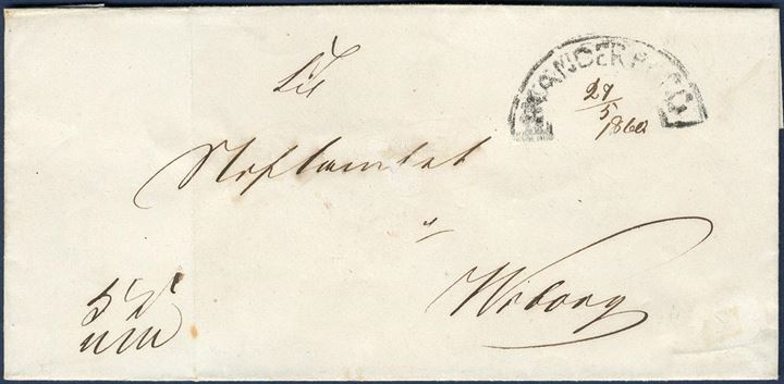 "Royal Service letter sent from Skanderborg to Viborg 29 May 1860 stamped with the scarcely found segment mark ""SKANDERBORG""."