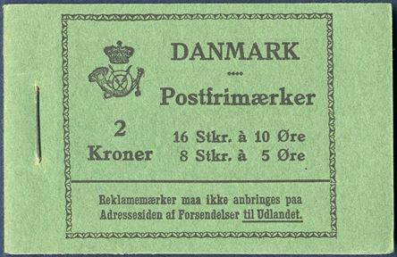 2 Kr. 1394 booklet with 5 øre green and 10 øre yellow, Cover A, excellent preserved.