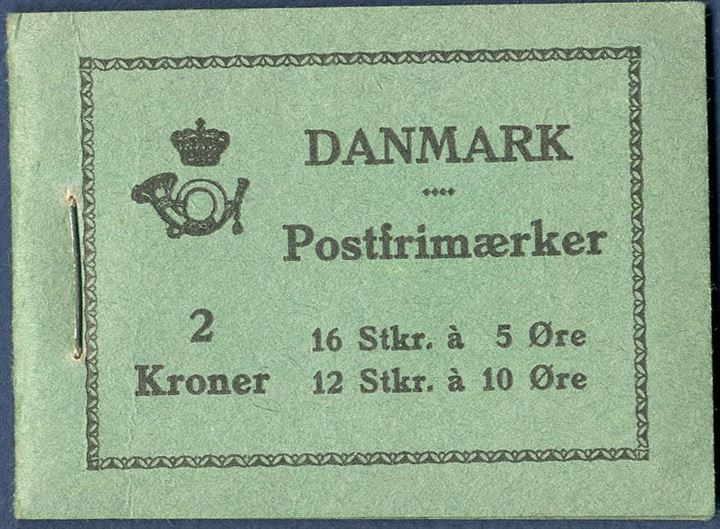 2 Kr. 1394 booklet with 5 øre green and 10 øre yellow, Cover B with coupon. Two stamps missing.