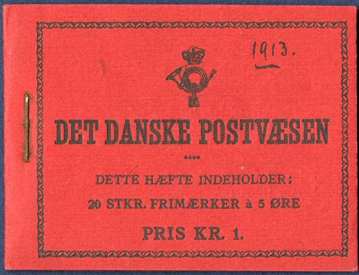 1 Kr. 1913 Booklet with red cover and the stamps without pane numbers. Excellent condition and cover in pristine condition, rare booklet. The first and earliest Danish Stamp Booklet, ink 1913 on the front.