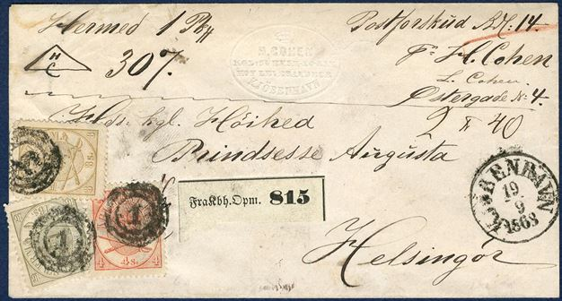 A parcel with postal money of 14 Rdl and weighing 2 4q sent from Copenhagen to Helsingør September 19, 1868. Total franking with 4, 8 and 16 sk. 1864 Arms-issue.