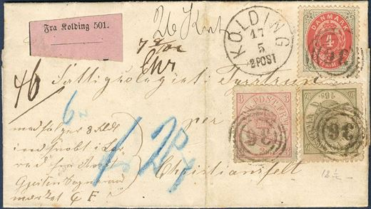 Parcel Value letter sent from Kolding to Christiansfelt May 17, 1871. The parcel is weighing 26 kvint or 130 gram and franked with 23 sk. consisting of 3 and 16 sk. line perforated 12 1/2 1864 Arms-issue and a 4 sk. 1870 bicoloured. Letters with 16 sk. line perforated 12 1/2 is extremely rare and the condition of this letter is remarkably good, Weigt and Value calculated after border rate, rate break down will be provided. Extremely scarce.