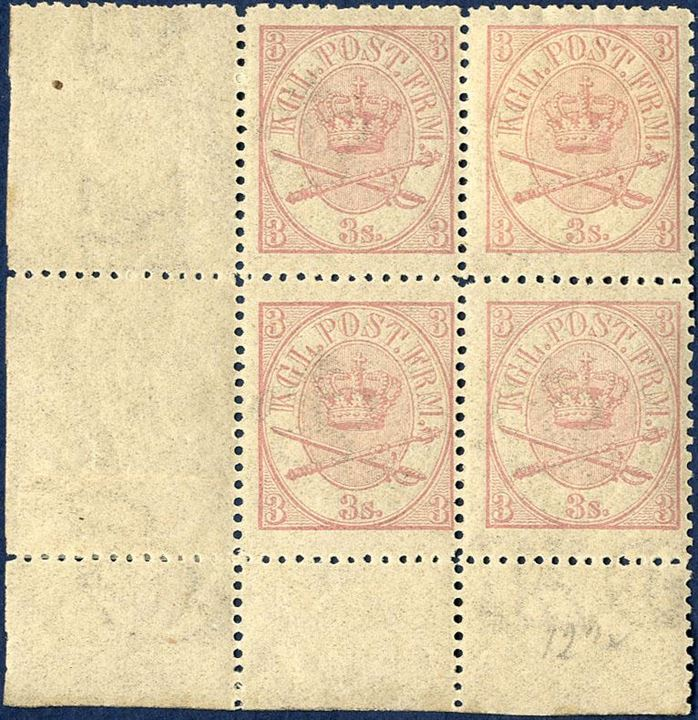 Corner margin block 3 sk. 1870 line-perforation 12 1/2 with three stamps mint never hinged and in very fresh condition. AFA value DKK 27,500