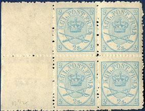 Sheet margin block 2 sk. 1870 line-perforation 12 1/2 with three stamps mint never hinged and in very fresh condition. Lower left stamp, ** MNH, with dent in frame and the stamp illustrated in the Hafnia 1976 s/s, one of the most popular danish errors. AFA value DKK 17600 stamps only +++