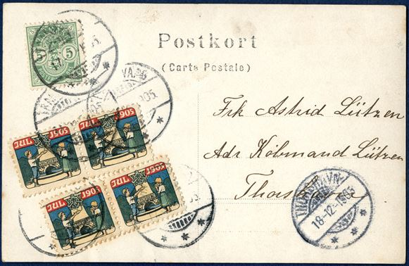 Postcard from Trangisvaaag 17 December 1905 to Thorshavn. 5 øre Coat-of-Arms paying postcard rate and two pairs of 1905 CHRISTMAS SEAL tied by Trangisvaag postmark. Postcards with 1905 Danish Christmas seals are very unusual on local postcards within the Faroe Islands.