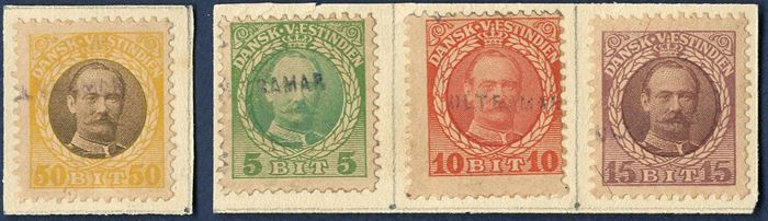 Complete set of King Frederik VIII issue overprinted ULTRAMAR in black, being the UPU supplies distributed by the Portugeese Post to their colonies. Extremely rare set.