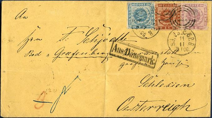 22 sk. rate cover from Copenhagen via Hamburg to Grafenberg in Austrian Schlesia Dec. 20, 1863-64 franked with 16 skilling rouletted, 2 skilling 1855 and 4 sk. rouletted tied by duplex numeral 181. Rectangular Aus Dänemark alongside. Red crayon 3 Sgr. for the rate share to the union. Very fresh shade of the 16 sk. stamp, cover folded, but fine and neat appearance.