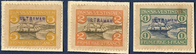 Complete set of St. Thomas Harbour-issue overprinted ULTRAMAR in purple, being the UPU supplies distributed by the Portugeese Post to their colonies. Extremely rare set.