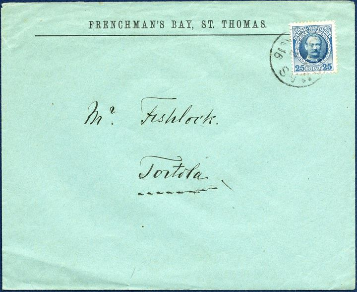 Letter from St. Thomas 17 February 1916 to nearby neighbour Island, Tortola. 25 BIT blue/blue King Frederik VIII tied by ST. THOMAS 17/2 1916 LAP and receiving mark on reverse ROAD-TOWN / TORTOLA V.I. / 7PM / FE22 / 16. After 1.10.1910 the favored 300 nautical mile Caribbean rate was abolished, and now 25 BIT UPU letter rate from 1.10.1910 – 31.3.1917.
