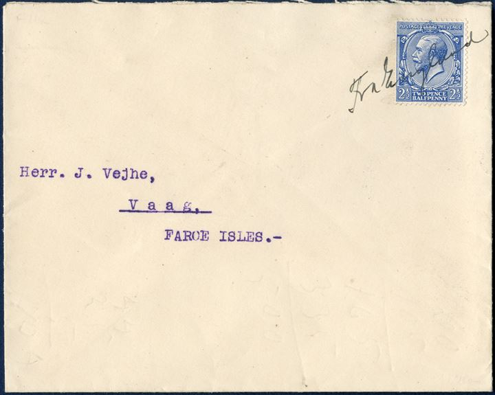 Letter from Leith August 1912 to Vaag, Faroe Islands. Delivered onboard the steamer to Faroe Islands, then on arrival ink manuscript 'Fra England' and stamped on back with reception datestamp VAAG 24.8.12 3-5E. Manuscript Fra England not listed in GF10 2017 edition.