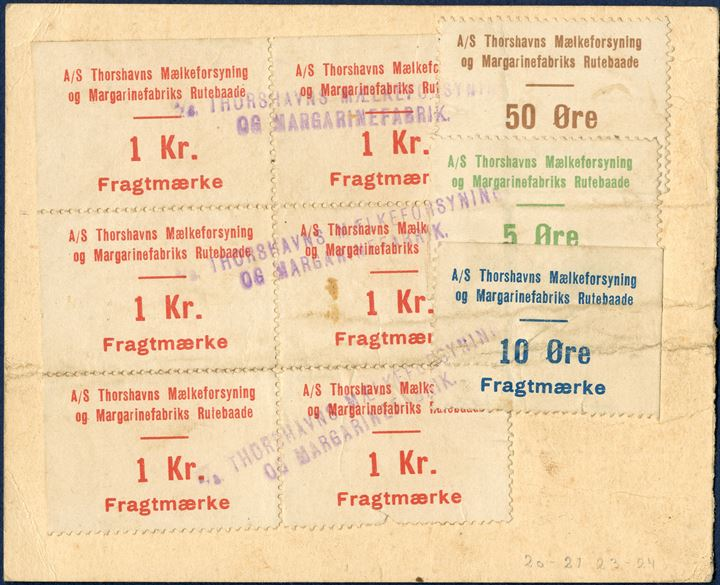 "Freightletter from Balslev & Goos, Thorshavn to Midvaag 18 September 1928 per M/S ""Tróndin"". Freight paid with 6 Thorshavns Mælkeforsyning1 kr. red, 5 Øre, 10 Øre and 50 øre imperforate and cancelled with two-line mark. Fold through card and stamps with imperfections, but a rare item."