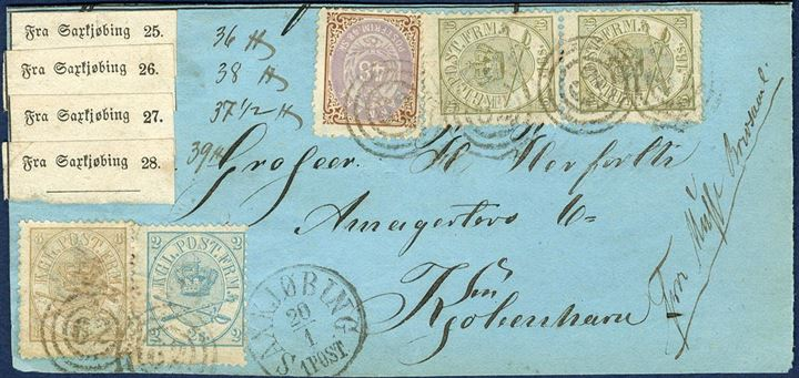 Parcel letter front from Musse letter collecting place Fra Musse Brevsaml. to Copenhagen Jan 20, 1871-72 for four parcels weighing 36 , 38 , 37 1/2 , 39  a total of 150 ,  with Saxkiøbing labels 25-28. Postage paid cash, a total of 90 skilling on the cover with 48 sk, pair of 16 sk., 2 and 8 sk. Arms type - not complete franking. Fresh shade for the 48 sk. stamp. Musse collecting place from 1.10.1867-22.8.1872. A scarce parcel item.