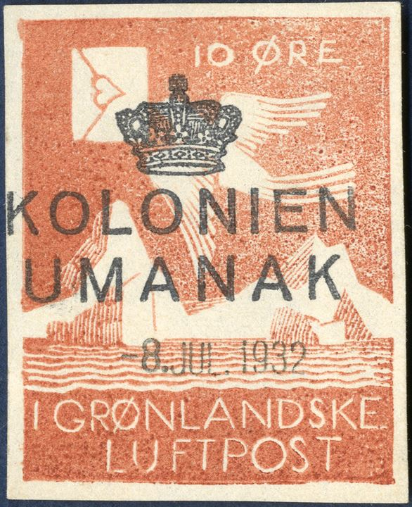 10 ØRE - I GRØNLANDSKE LUFTPOST, UDET air mail stamp cancelled with 3-line [crown] / KOLONIEN / UMANAK and dateline stamp '-8.JUL.1932'. Stamp engraved by the American artist, Rockwell Kent, colour of stamp well preserved and in stamp in very fine condition.