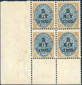 5 BIT 1905 provisional, overprint on 4 cents bicolored, pos. 81-82, 91-92. Lower stamps with inverted isolated frames in mint never hinged block of four with corner sheet margin.