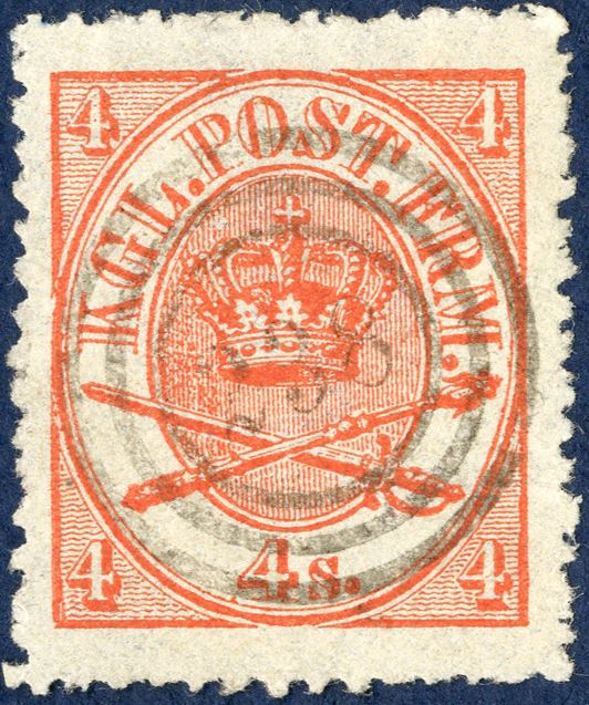 Numeral cancellation 238 THORSHAVN on 4 sk. 1864-issue.
