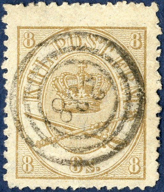 Numeral cancellation 238 THORSHAVN on 8 sk. 1864-issue.