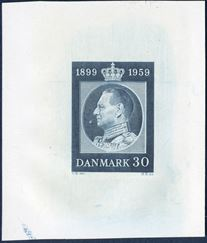 60 øre King Frederik blue, 1899-1959 60th Birthday. Die proof in dark blue, fantastic item and extremely rare.
