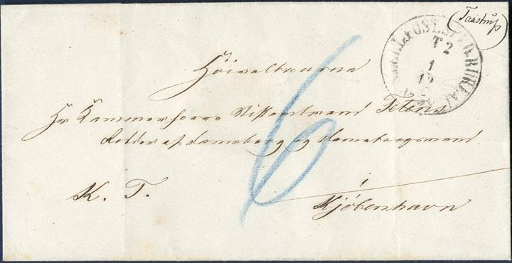 Royal Service letter with wax seal GREVE PASTORAT to Copenhagen 1 December 1859?, with blue crayon 6 sk. due by addressee and manuscript town name TAASTRUP top right corner.