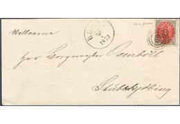 4 sk. bicoloured VIII printing inverted frame pos. A-90 on cover from Rødby to Stubbekjøbing July 22, 1873 tied by numeral 60 alongside Rødby cds.