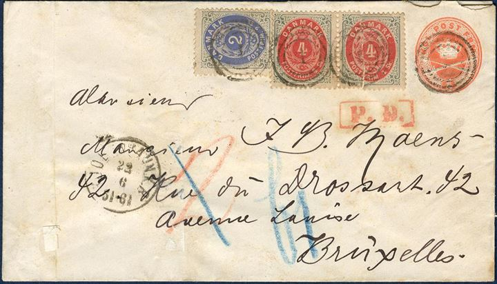 "Postal 4 sk. stationery envelope sent from Copenhagen to Brussels 22 June 1872, additional franked with 2 sk. and two 4 sk. bicoloured issues, the 4 sk. originally attached as separated to the envelope. Rare usage to Belgium, besides it's also sent to the legendary Belgian Stamp dealer ""J. B. Moens"""