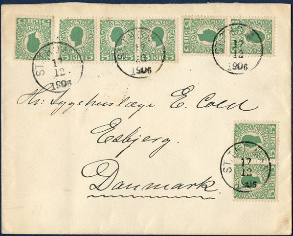 Letter from St. Thomas 17 December 1906 to Esbjerg, Denmark. A single, two pairs and a 3-strip 5 BIT green I. printing King Christian IX canceled with LAP 'ST. THOMAS 17/12 1906', plate flaw on lower right pair, with coloured dot below '5' on the right stamp. UPU letter rate 40 BIT from 15.7.1905 – (to Denmark) 30.9.1907, on 1.10.1907 Denmark rate was lowered to 30.9.1909, wheras UPU rate remained 40 BIT until 1.10.1909.