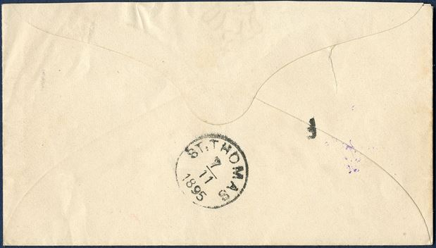 3 cents red-orange stationery envelope with watermark III (1893-94) cancelled with four-ring without dot in St. Thomas and backstamped origin mark 'F' Frederiksted and 'ST. THOMAS 7/11 1895'. 'F' Frederiksted is a scarce postmark.