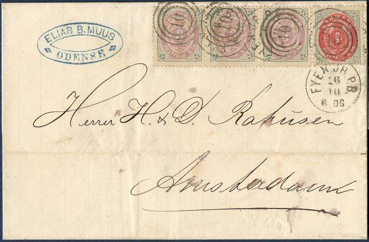 "13 sk. letter sent from Odense to Amsterdam 26 October 1872 bearing a 3-strip 3 sk. and a 4 sk. bicoloured issue tied by railroad duplex mark ""10"" Fyen Jb.P.B."" and Amsterdam 12.10 arrival mark on reverse."