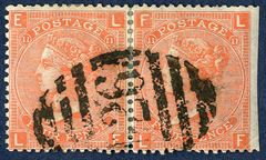 'D26' Spanish Mail postmark on a pair of 4d plate 11 (1869), the postmark exists in two slightly different versions was delivered in March 1868 and is known used only from 14 April until 8 November 1868. One of two pairs recorded in DWI census.