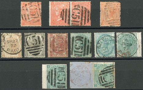Queen Victoria, surface-printed, large white letters, a small group of stamps cancelled with obliterator 'C51' and duplex C51 in various conditions.