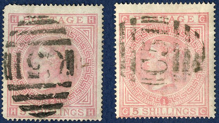 Queen Victoria, surface-printed, large white letters, 5 shilling rose, plate 1 and 2, cancelled with obliterator 'C51'. One stamp plate 1 in very fine condition, plate 2 with round corners.