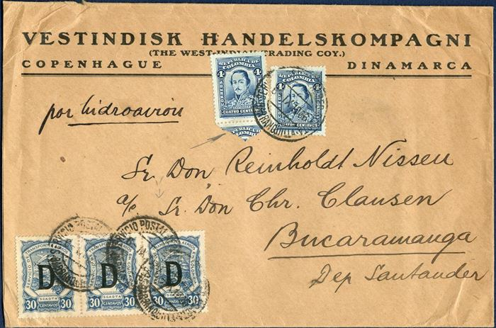 "SCADTA Letter sent from Copenhagen to Columbia September 1926 bearing two Columbian 4C stamps and 3-strip of 30C with the Berlin overprint ""D"". Very scarce combination with Columbian and SCADTA stamps used on letter sent from Denmark."