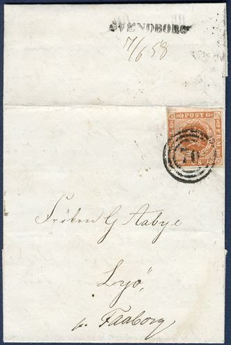 Letter from Svendborg 7 June 1858 to the small island Lyø just outside Faaborg. 4 Sk. 1854 cancelled with numeral '70' Svendborg, backstamped with straightline mark 'SVENDBORG' LIN-2, and manuscript '7/6 1858'. Only recorded example of this 1-line mark.